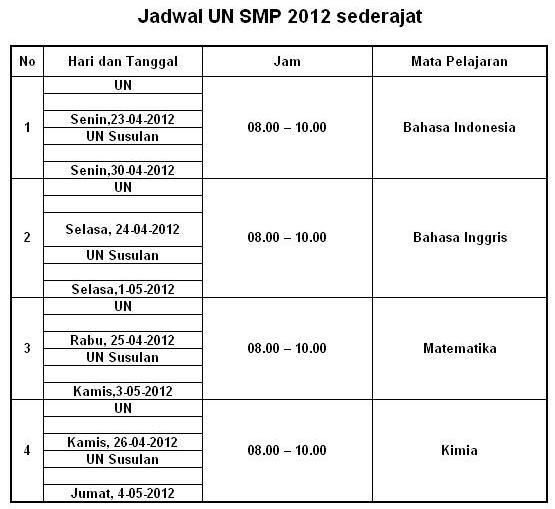 Jadwal Un Smp Smplb Jpg Download Lengkap